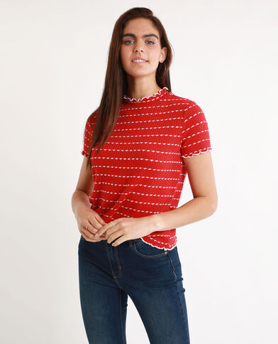 T-shirt van ribstof Rood
