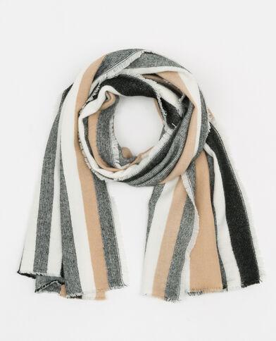 Gestreepte sjaal Beige