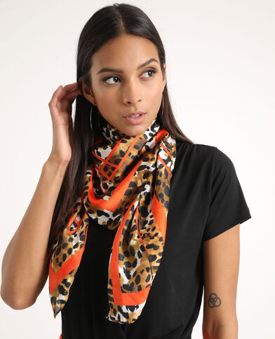 Foulard léopard marron