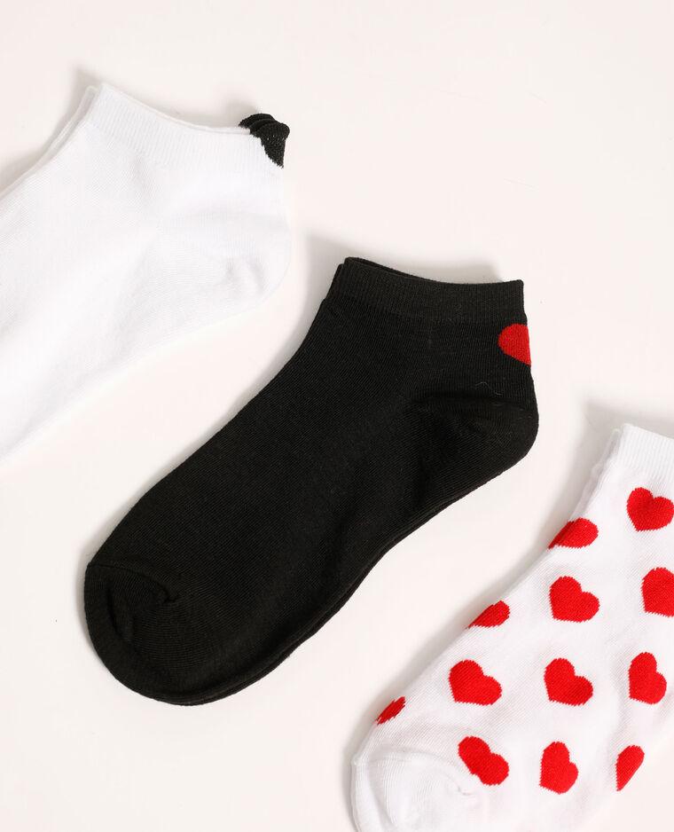 Set van 3 paar lage sokken met hartjes granaatrood - Pimkie
