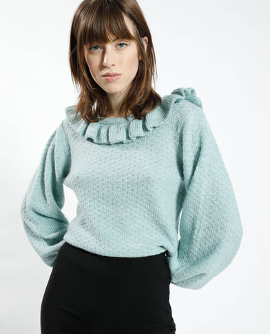Opengewerkte trui met ruchehals groenblauw - Pimkie