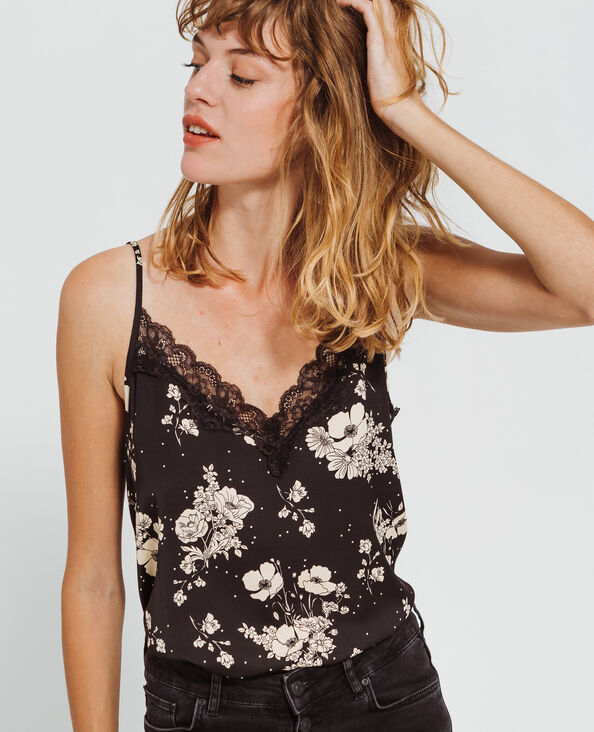 Topje met bloemenprint zwart