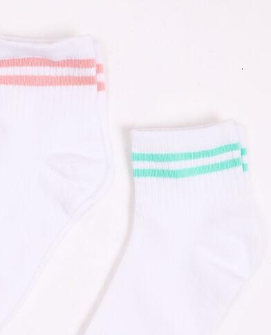Set van 2 paar gestreepte sokken wit