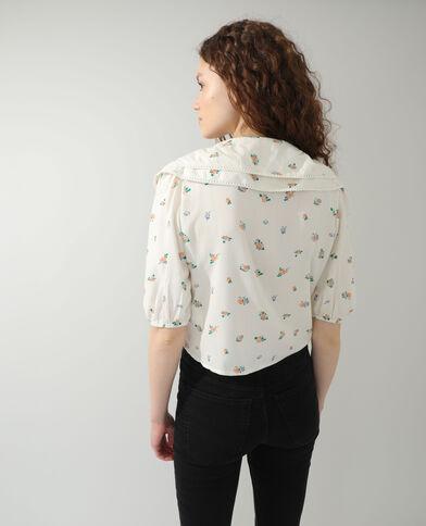 Bloemenhemd met grote kraag beige - Pimkie