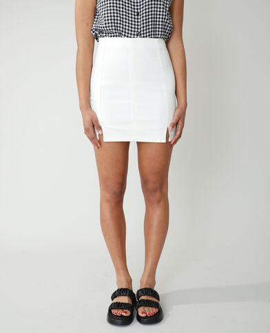 Korte jeansrok gebroken wit - Pimkie