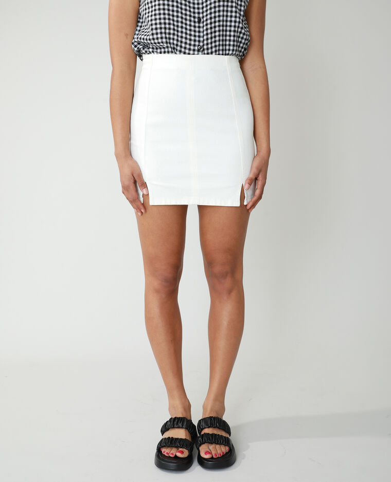 Jupe courte en jean blanc cassé - Pimkie