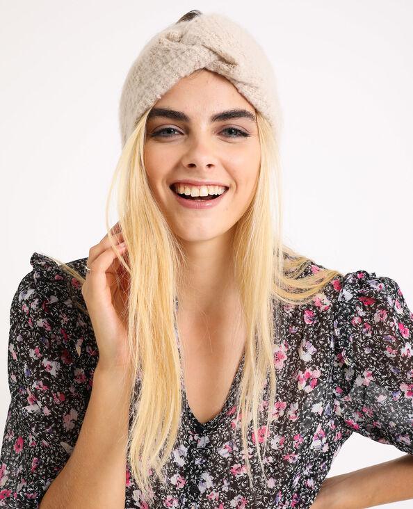 Haarband van tricot geweven beige
