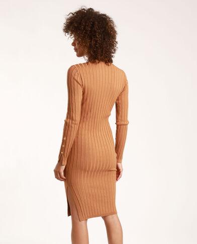 Lange jurk van ribstof camel