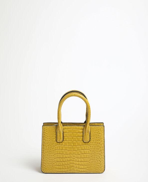 Mini-handtas met krokodillenleereffect geel