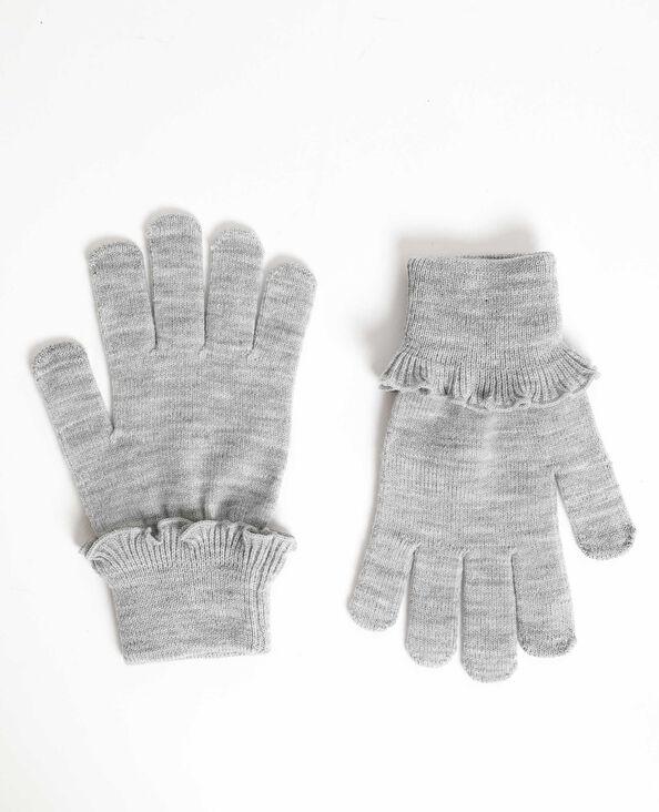 Handschoenen met ruches gemêleerd grijs