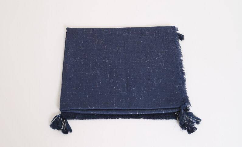 Foulard van lurex elektrisch blauw