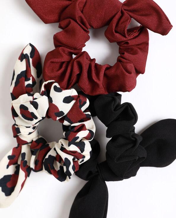 Set van 3 scrunchies met strikje rood