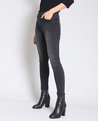 - Skinny jeans met middelhoge taille antracietgrijs