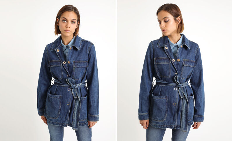 Lang jeansjasje denimblauw