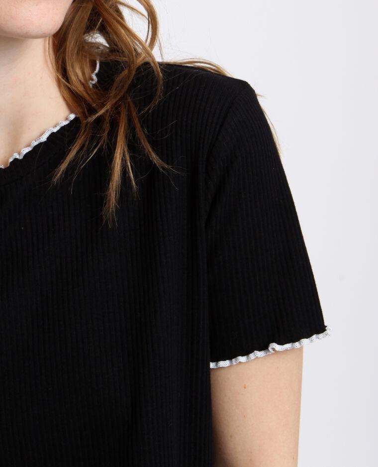 T-shirt côtelé noir