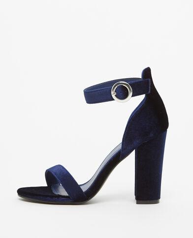 Sandales effet velours bleu
