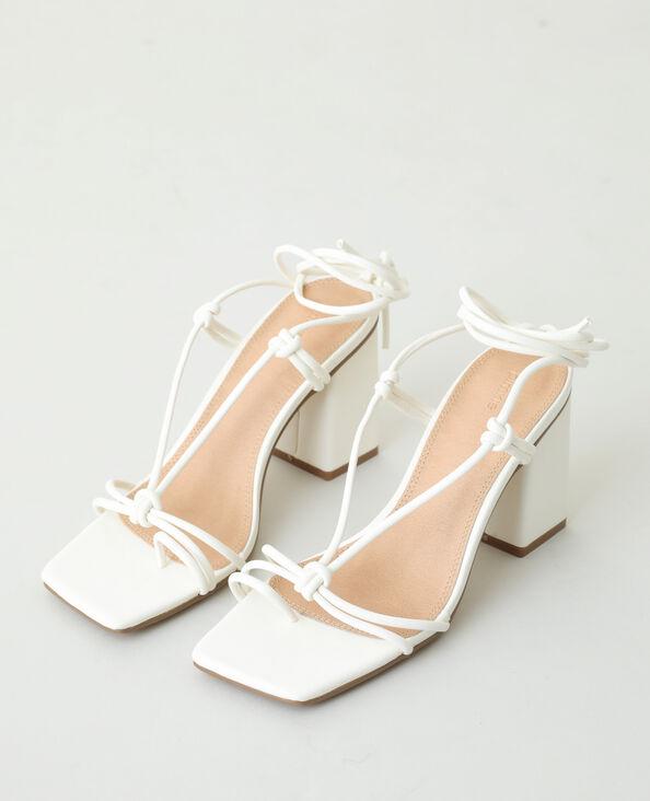 Sandalen met hak en veters wit - Pimkie