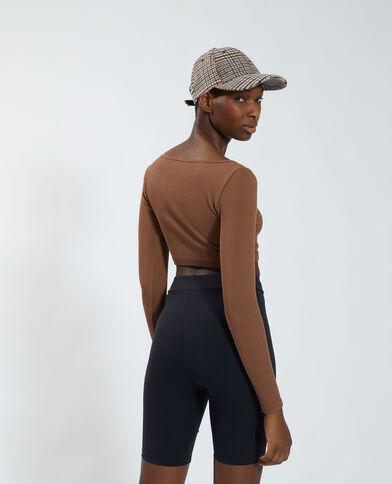 T-shirt cropped côtelé marron - Pimkie