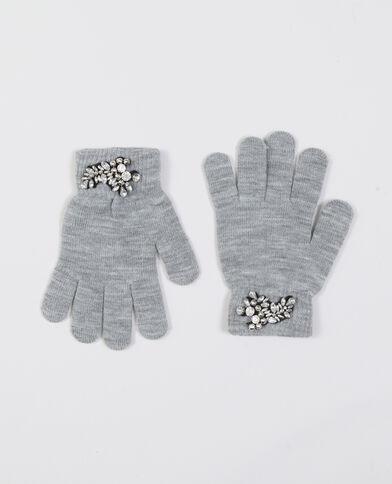 Handschoenen met sieraden grijs
