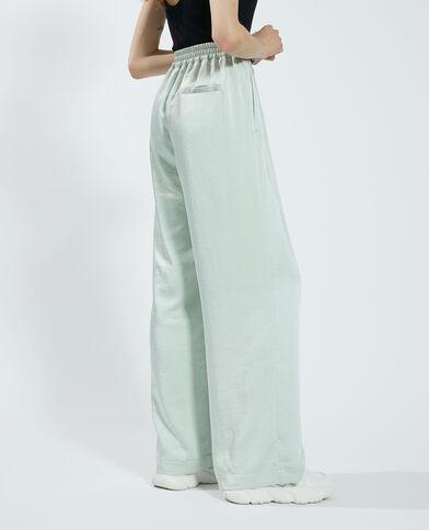 Pantalon wide leg satiné vert - Pimkie