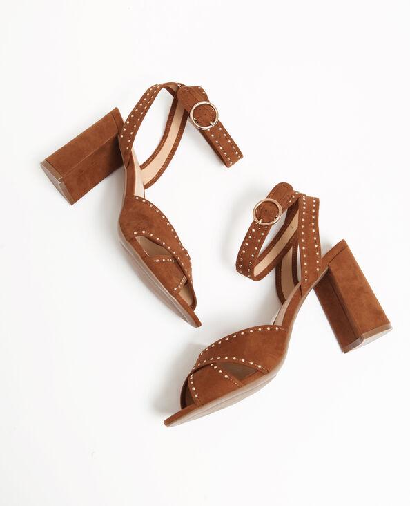 Sandalen met studs kastanjebruin