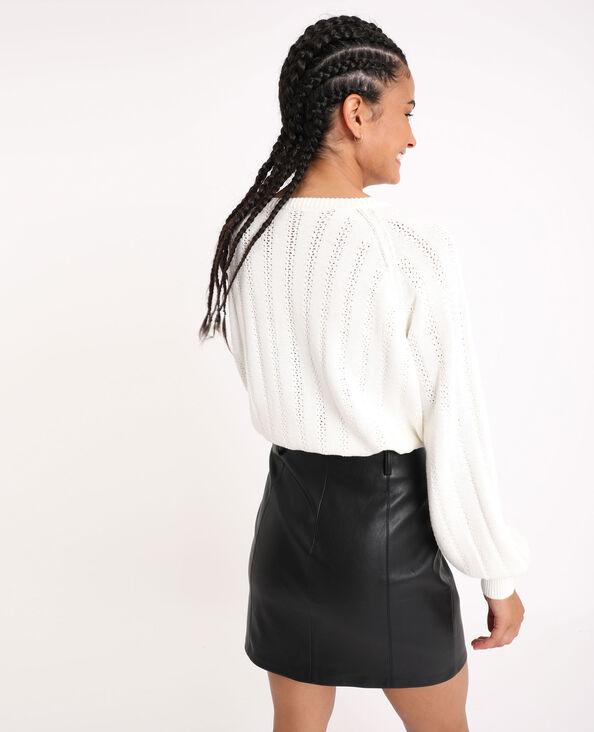 Vest van opengewerkt tricot gebroken wit