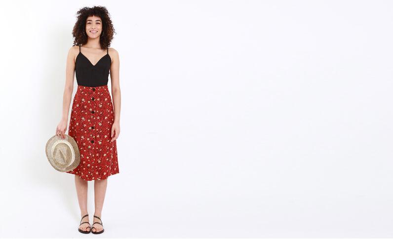 Halflange rok met luipaardprint rood
