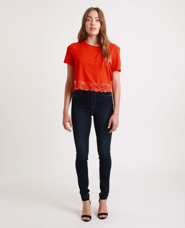 Kort T-shirt met kant oranje