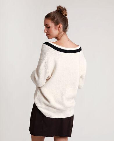 Contrasterende trui gebroken wit