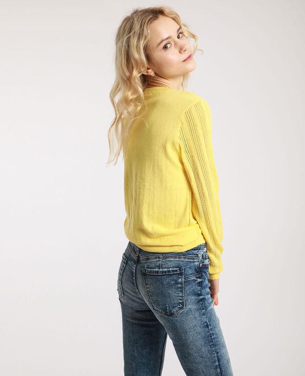 Pull maille fantaisie jaune