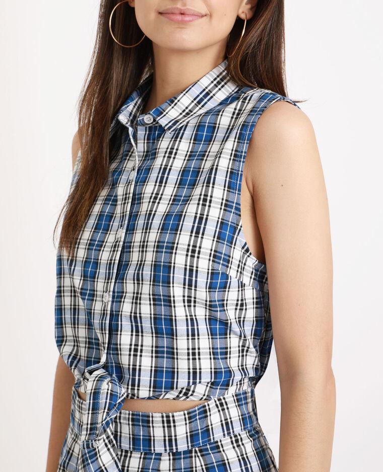 Robe chemise à carreaux bleu