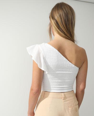 Gesmokte one-shoulder top wit - Pimkie