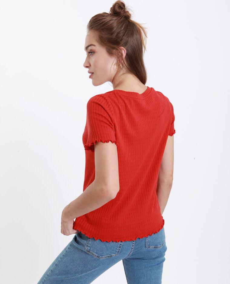 T-shirt maille ajourée orange
