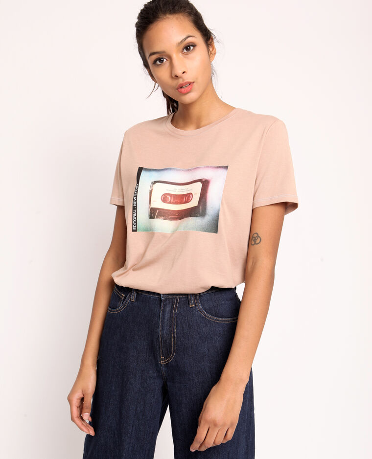 T-shirt imprimé marron