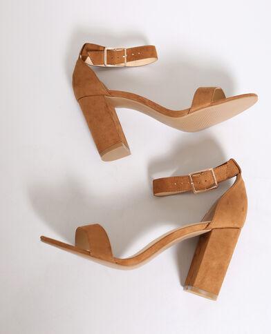 Sandalen met hakken kastanjebruin