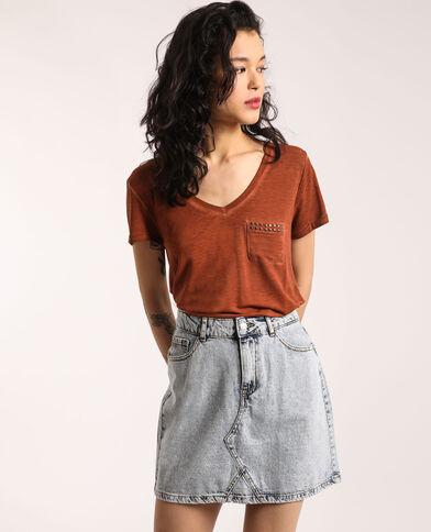 T-shirt met V-hals kastanjebruin