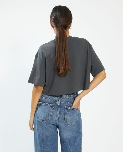 Cropped T-shirt grijs - Pimkie