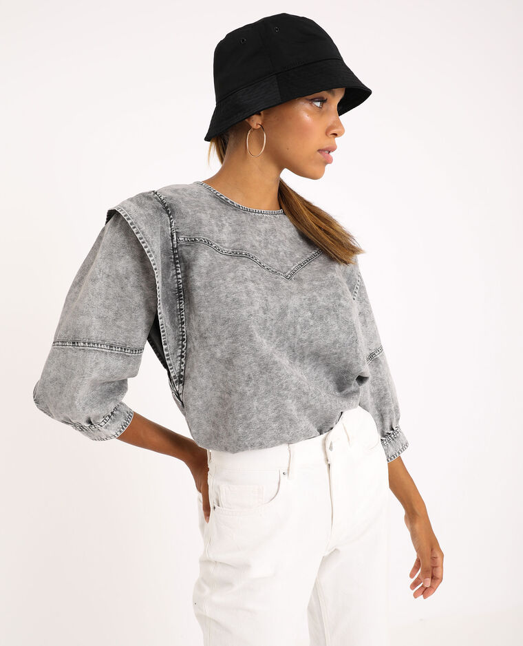 Jeansblouse grijs