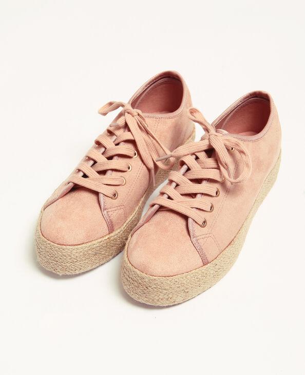 Sneakers met zool van stro poederroze