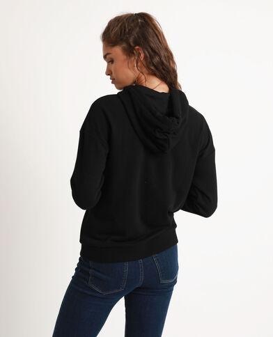 Sweater met kap en rits zwart