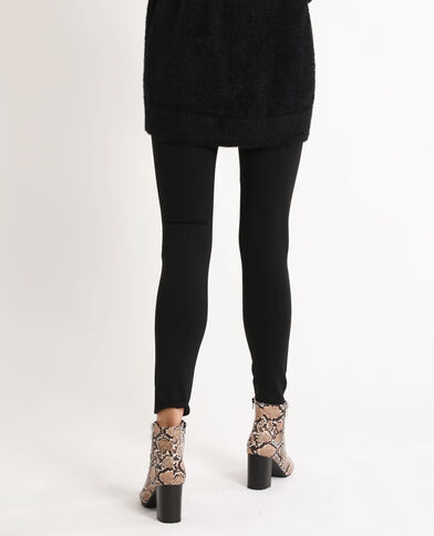 Strakke stretchbroek met hoge taille zwart