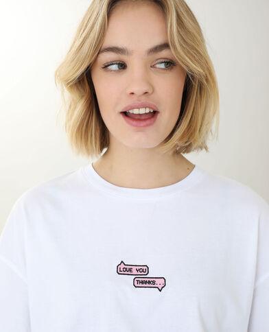 T-shirt met borduursel wit - Pimkie