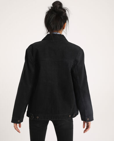 Jeansjasje van gerecycleerd materiaal zwart