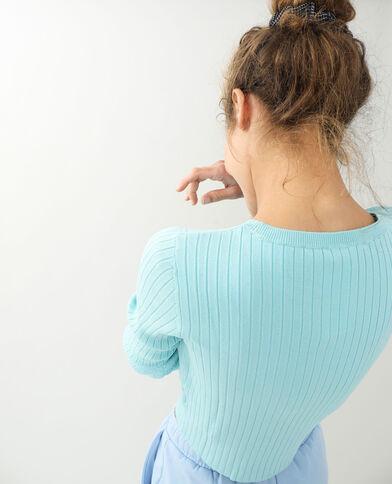 Korte trui met platte ribbels zeeblauw