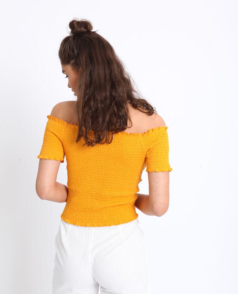 Crop top met bardothals geel