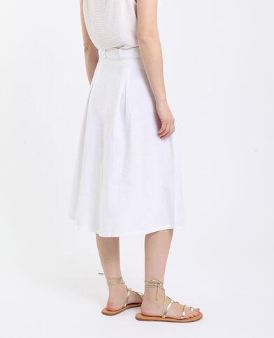 Halflange rok van linnen wit
