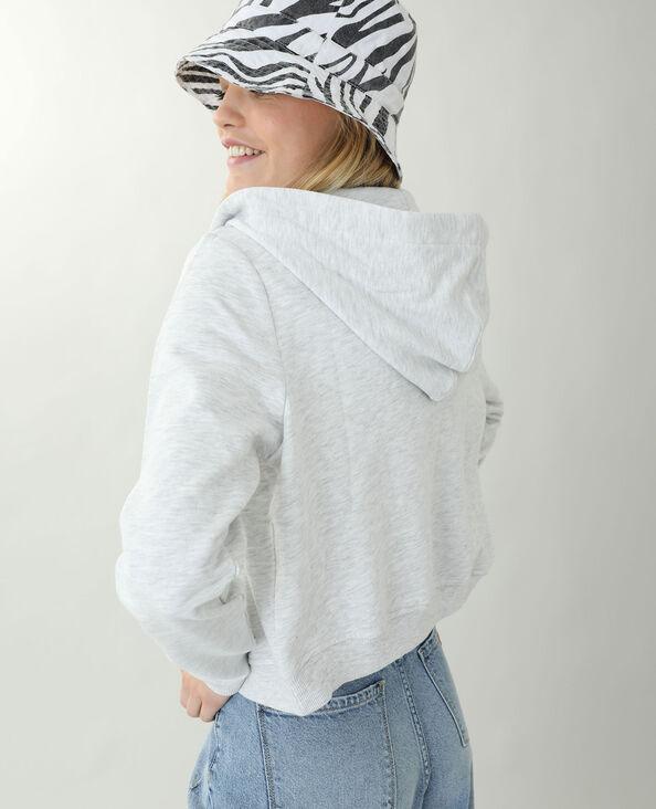 Korte moltonsweater met kap gemêleerd grijs - Pimkie