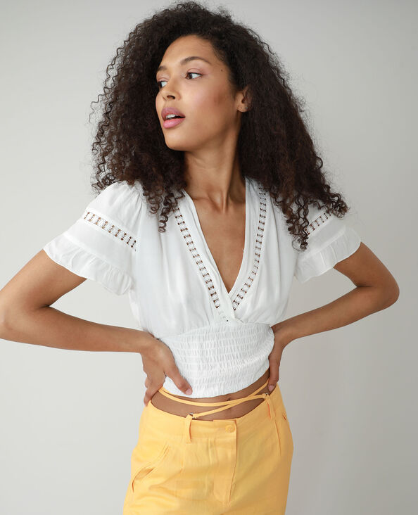 Gesmokte cropped blouse gebroken wit - Pimkie