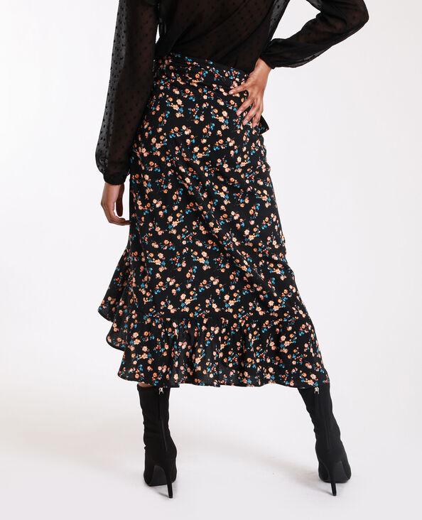 Halflange rok met bloemenprint zwart