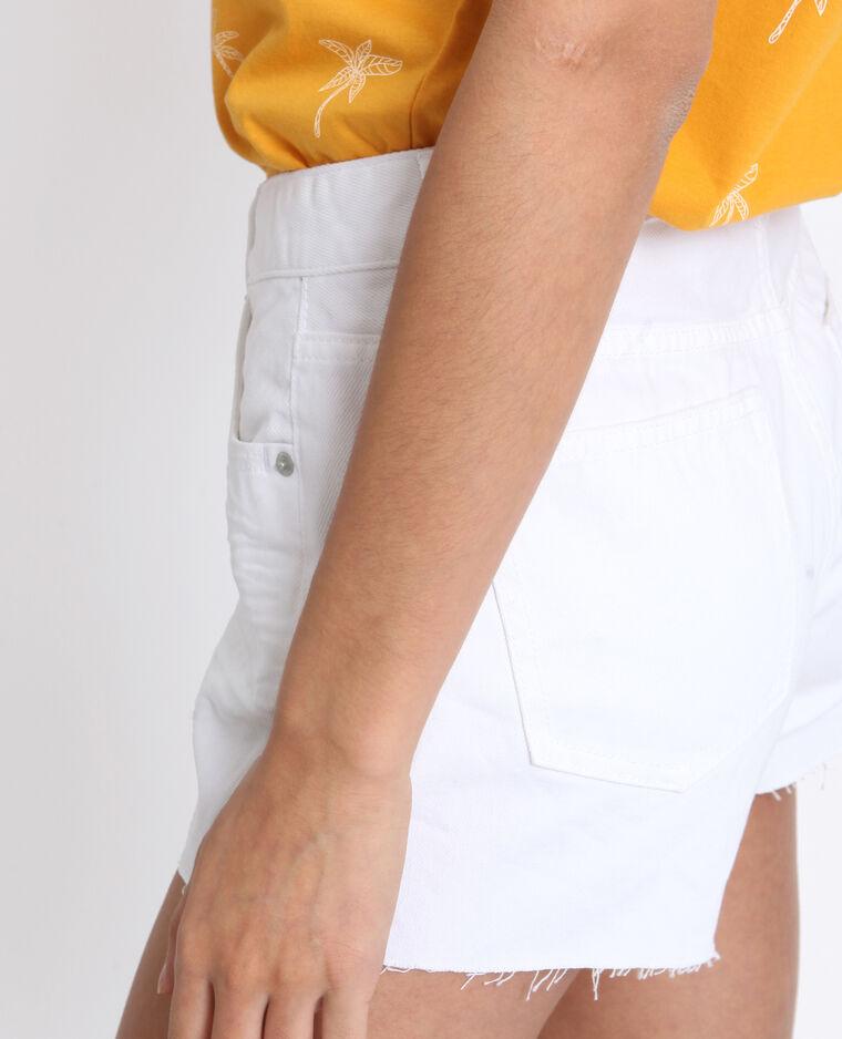Jeansshort met middelhoge taille wit
